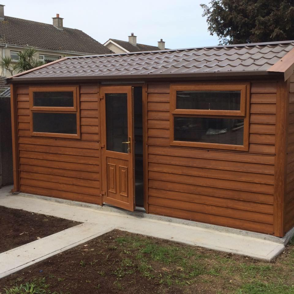 Wood effect steel sheds for sale in ireland for Wooden garden sheds for sale