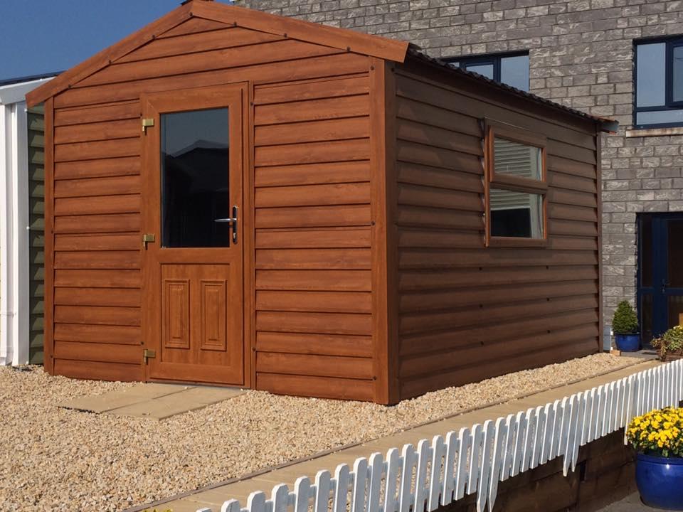 13 x 10 wood effect steel shed